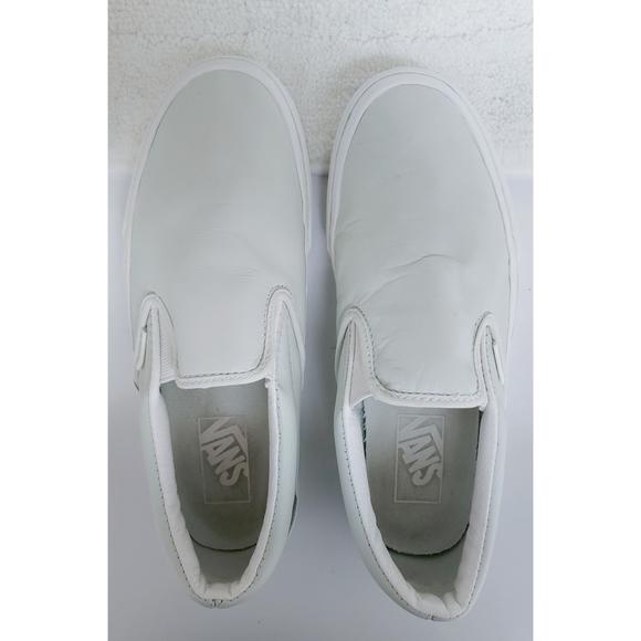 Vans Shoes | White Leather Upper Slip